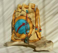 BEAR MEDICINE deerskin leather Medicine Bag, Spirit Pouch, Tarot Bag with TURQUOISE