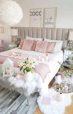 Contemporary Bedroom Decor, White Bedroom Decor, Teen Room Decor, Bedroom Green, Modern Bedrooms, Romantic Bedrooms, Shabby Bedroom, Pink Bedrooms, Small Bedrooms
