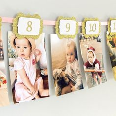 12 Month First Birthday Party Banner gold scallop