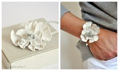 leather flower power bracelet using ruined leather Handmade Flowers, Diy Flowers, Fabric Flowers, Do It Yourself Design, Do It Yourself Inspiration, Leather Jewelry, Leather Craft, Diy Leather Flowers, Plastic Spoon Crafts