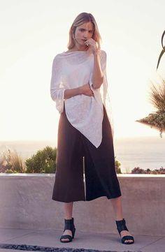 Eileen Fisher Poncho, Tank & Wide Leg Culottes