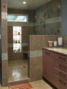 Shower with no doors and a built in shelf!! Yes please