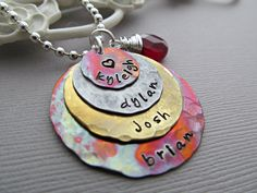 Personalized Necklace Hand Stamped Jewelry, Rustic Mix Metal, Custom Birthstone, Birthdate, Garnet Red Gemstone. $56.00, via Etsy.