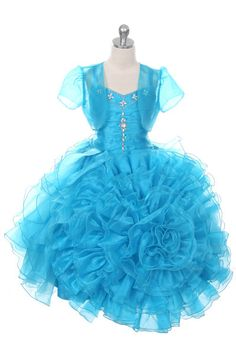 Rain Kids Rose Ruffled Corset Organza Pageant Dress Girls 2-12