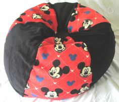 Attrayant Mickey Mouse Bean Bag Chair   ADD Red Name Floor Cushion Up To 5 Yrs.  Old Toy U0026 Extra Bedding Storage