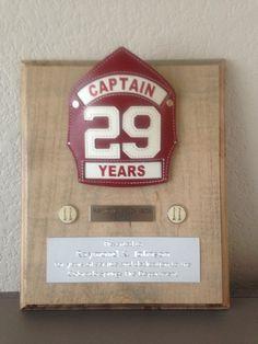 Firefighter retirement plaque
