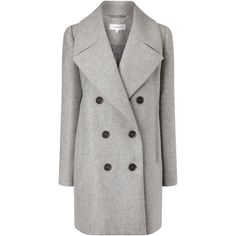 Carven Grey Wool Double Breasted Coat ($390) ❤ liked on Polyvore featuring outerwear, coats, jackets, woolen coat, wool coat, carven coat, double-breasted coat and gray wool coat