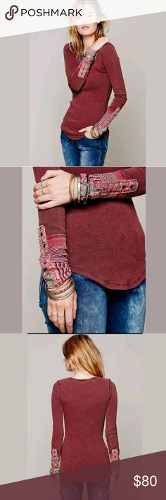 NEW Free People Kyoto Cuff Thermal New Free People Kyoto Cuff Thermal  Mulberry  Size Medium    Brand label has been marked through to prevent store returns. Free People Tops Tees - Long Sleeve