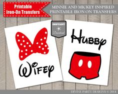 Mickey and Minnie Inspired Hubby and Wifey Printable Iron On Transfers by DivinePartyDesign, $4.00. Instant Download. Perfect for Disneyland or Disney World honeymoon or anniversary trip.