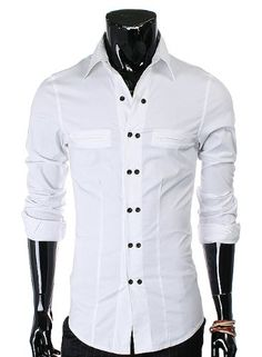 Doublju Mens slim Fit two button point Shirts (328)