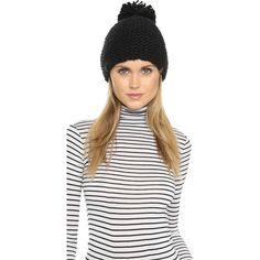 Bickley + Mitchell Pom Pom Beanie (245 VEF) ❤ liked on Polyvore featuring accessories, hats, black, black beanie, slouch beanie, slouch hat, slouchy beanie hat and pom pom beanie