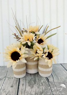 Use burlap and lace trim to decorate the outside of your Mason jars, then fill with sunflowers, grass, and wheat—all of which you should be able to find at your local dollar store. Get the tutorial at Crafting in the Rain.