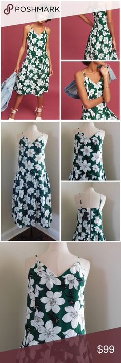 "NWT ~ J.O.A. Medium Lawn Party Floral Dress Green *NO Trades Please*  NWT!!  This would be the PERFECT Easter Dress... Think of the Pictures :)  ""Lawn Party Dress"" by J.O.A.... Purchased at Anthropologie  Sleeveless... with Adjustable Shoulder Straps ~ V Neckline in Front... Straight Across in the Back ~ Silver Exposed Zipper in Back... with a  Round Ring Zipper Pull ~ Lined to about 8"" above the Bottom of Skirt  Shell:  55% Linen 45% Cotton Blend Lining:  70% Cotton 30% Linen Blend  Bust…"