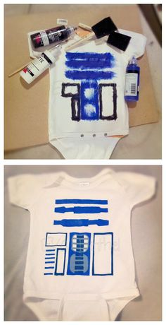 The R2D2 onesie I made for Kaleb to match with his helmet. I used freezer paper as a stencil :o)