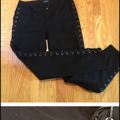 ISO  Black lace up pants, size 11/12 Juniors My daughter loves these pants and would love if we could find a similar pair to this. Thank you!!! Jeans