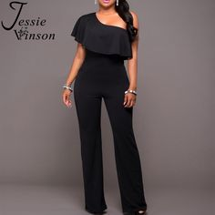 5f801b5832 Jessie Vinson Ruffles One Shoulder Jumpsuit Plus Size Sexy Solid Color  Sleeveless Rompers   Price