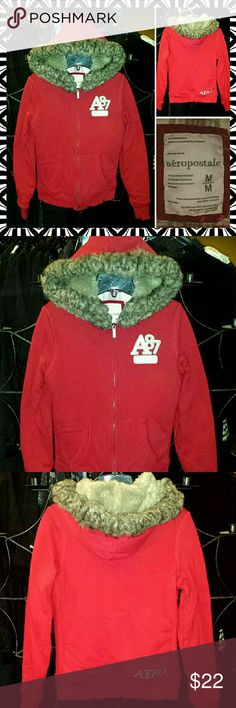 ?? AEROPOSTALE FAUX FUR CHERRY RED HOODIE JACKET A VERY COOL & SOOO COMFY WARM faux fur hood ZIP HOODIE JACKET..ITS a SIZE MEDIUM IN JR/MISS and is in EXCELLENT nearly new condition Aeropostale Tops Sweatshirts & Hoodies