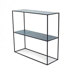 Flatiron-Wrought Cube Console with Shelf  The simple shape of this console comes with endless options, its blackened steel construction and functional shelf suiting a wide range of spaces.