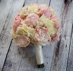 Peony Bouquet  Ivory and Blush Peony Hydrangea and by KateSaidYes