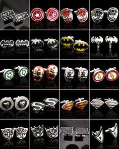 SUPER HERO CUFFLINKS MENS WEDDING NOVELTY SUPERHERO CUFF LINKS New In Stock