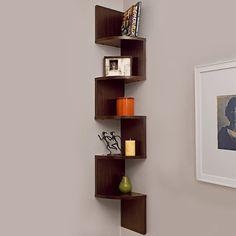 Corner Wall Shelf, 5 Level, Floating Zig Zag Shelf Display, Walnut - Houseables