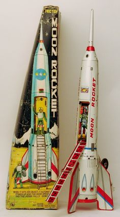 Almost 15 inches tall, this Moon Rocket travels forward until it hits an object - it then raises itself up vertically as the door opens, ladder extends, and the astronaut pilot is revealed. All tin an