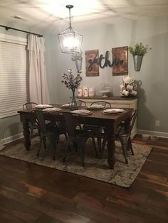 Ideas Farmhouse Dining Room Decor Ideas Home Dining Room Wall Decor, Dining Room Design, Dinning Room Ideas, Dinning Room Curtains, Dining Room Decorating, Farm House Dinning Room, Wall Decor For Kitchen, Dining Room Lighting Rustic, Living Room Decor Blue Walls