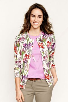 Women s Supima Fine Gauge Floral Print Cardigan from Lands  End Cardigan  Sweaters For Women fb171befe