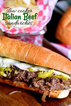 Load up on the delicious flavor of these Slow Cooker Italian Beef Sandwiches! A handful of ingredients are all you need to pull this amazing dinner off. Also great for game day or an easy weeknight dinner! // Mom On Timeout Slow Cooker Italian Beef, Slow Cooker Beef, Slow Cooker Recipes, Crockpot Recipes, Cooking Recipes, Italian Cooking, Italian Roast Beef, Italian Beef Recipes, Chicken Recipes