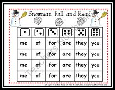 Snowman Roll and Read Sight Word Game product from Can-You-Read-It on TeachersNotebook.com
