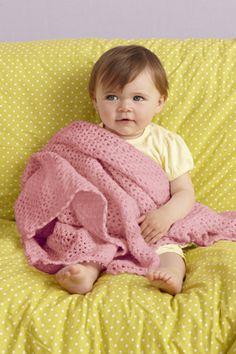 Pink V-Stitch Baby Throw - easy pattern from Lion Brand yarn.