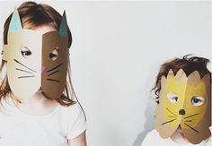 Quick Kids Craft - One Fold Cardboard   Handmade Halloween Animal Masks