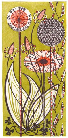 Angie Lewin is a lino print artist, wood engraver, screen printer and painter depicting the UK's natural flora in linocut and other limited edition prints. Art And Illustration, Illustrations, Linocut Prints, Art Prints, Angie Lewin, Wood Engraving, Grafik Design, Oeuvre D'art, Textile Art