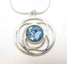 Amazing  925 Sterling Silver Roman Glass Pendant  Necklace on Etsy, $105.00