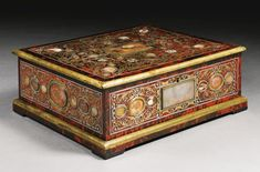 An agate-mounted mother-of-pearl, brass and pewter inlaid tortoiseshell première-partie boulle marquetry and ebony large jewellery casket, probably Antwerp and by Henry van Soest (1659-1726) early 18th century | Lot | Sotheby's