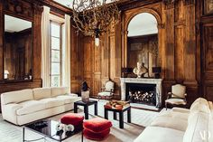 thank you for alerting us of a fantastic book on Pierre Sauvage - a must! His Salon, with its wonderful boiserie and elegant design, - seen here in a photo by -is one of our all time favorite spaces, so we can't wait for the book! Glam Living Room, Formal Living Rooms, Home And Living, Living Spaces, Living Area, Architectural Digest, Living Room Inspiration, Interior Inspiration, French Country Living Room