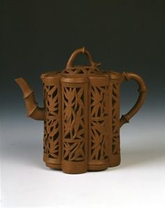 Chinese Yixing ware Kangxi period teapot with bamboo design. Chinese Ceramic art from the Qing dynasty, Kangxi Period, 1662 - 1722