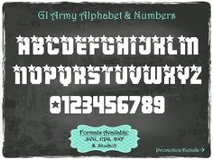 GIArmy Alphabet and Numbers in .SVG .EPS .DXF & .Studio3 formats Craft Cut Die Cutters Digital Vector Files Instant Download by TheSVGFontStore on Etsy