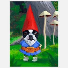 Brian Rubenacker Studios: Boston Terrier Gnome Print