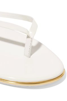 TKEES - Lily Patent-leather Flip Flops - White - US5