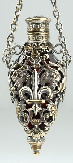 c1890 French caged ruby crystal chatelaine scent perfume bottle