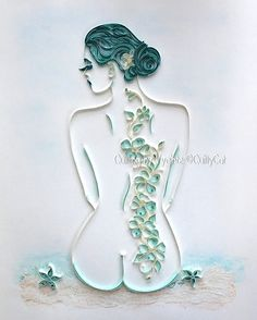 READY TO ORDER !!! Beautiful quilling paper art named Mermaid is signed by me - the artist. I created it from all of my heart and with love. Picture is mounted and framed with white frame which size is 40 x 50 cm (approx. 16 x 20) Thank you very much for your attention to my art