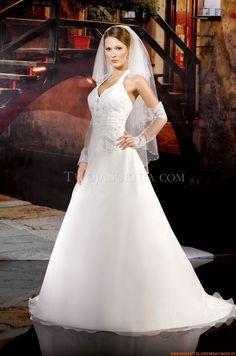 Nackhalter A-linie Preiswerte Brautkleider 2014 aus Organza mit Stickerei