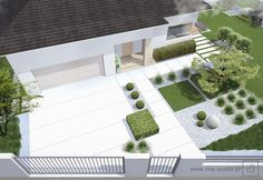 Creating Beauty At Home With Landscape Design Tips! Modern Landscape Design, Landscape Plans, Modern Landscaping, Backyard Landscaping, Landscape Architecture, Modern Front Yard, Contemporary Landscape, Garden Spaces, Garden Design