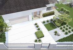 nowoczesny ogród przed domem   modern front jard