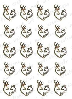 "20 Nail Decals Browning Deer Camo Country Love"" Water Slide Nail Art Decals 