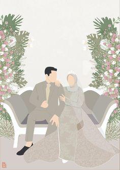Bride And Groom Cartoon, Wedding Couple Cartoon, Cute Muslim Couples, Cute Couples, Wedding Illustration, Illustration Art, Couple Hijab, Nice Dream, Islamic Cartoon