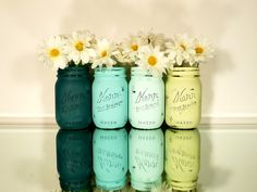 Home / Office / Dorm Decor - Painted Mason Jars - Aquatic - Vase. $24.00, via Etsy.