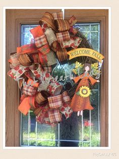 Fall Grapevine Wreath With Angel and Sunflower.