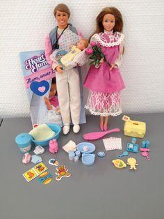 Barbie Mattel Heart Family Mutter, Vater, Baby 80er 80s mit Zubehör